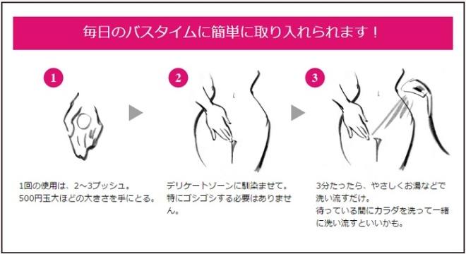 デリケートウォッシュオイルの使い方は3ステップ